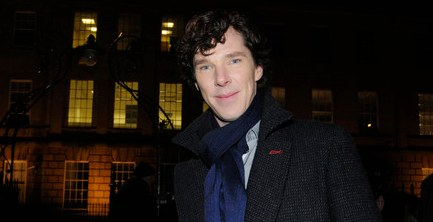 Benedict Cumberbatch on the set of Sherlock.
