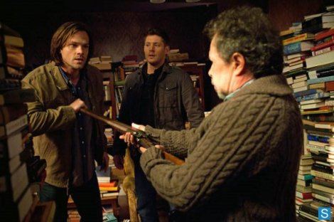 Sam and Dean confront Metatron in his fortress of books.