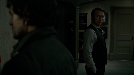 """The NBC Hannibal tumblr posted this picture with the tag """"#We're just going to let you Fannibals do what you do with this photo"""" because look at that face Hannibal is making. Hannigraham shippers rejoice!"""