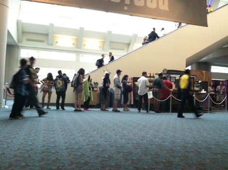 Obtaining your ticket gets you into the convention center, but it does not save you from the lines. Observe, the Starbucks line in its natural habitat.