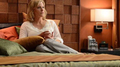 She's three tiny hotel alcohol bottles in before she even confronts Walt about his poor decisions lately.