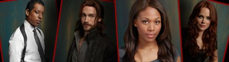 Some of the major players in Sleepy Hollow. Captain Irving, Ichabod Crane, Abbie Mills, and Katrina Crane.