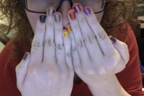 All nine shades on my nails.
