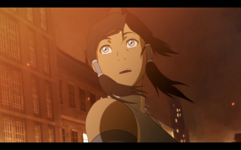 Korra is surprisingly composed at seeing her home's cultural heritage center being firebombed.