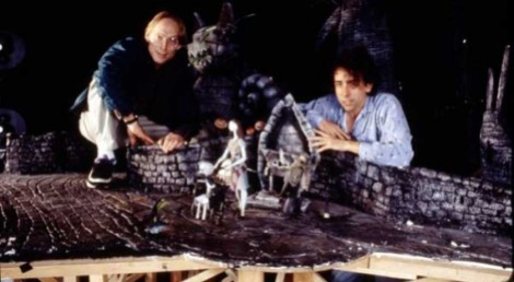 Henry Selick and Tim Burton on a Halloween Town set.