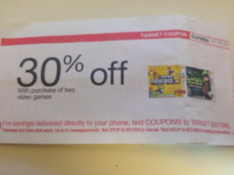 This is a super blurry image but basically you give them this coupon and you get 30% off two games. It's good until December 30th. And it DOES stack with the B2G1 deal so far.