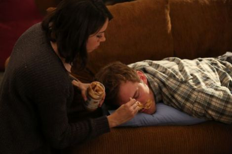 April trying her best to wake up Andy. [parksandrecreation.nbc.blogspot]