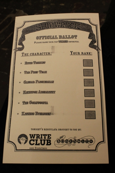Voting ballot for Shipwreck: The Hunger Games.