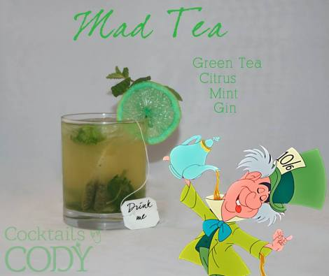 This looks DELICIOUS. I want to say muddle some citrus (maybe more peel than pulp?) and mint together, add in iced green tea with a shot of gin. He recommends honey vodka as a substitute for gin if you are not juniperly inclined.