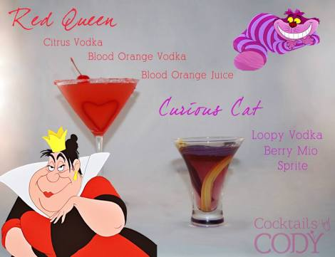 Red Queen looks like equal parts liqueur to three parts blood orange juice, with sugar on the rim and a cherry. Curious Cat seems to be a shot of 3 Olives' (Fruit) Loopy Vodka topped off with sprite and a couple drops of berry Mio.