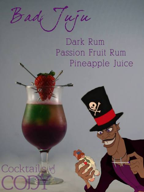This is a combination of a shot of dark rum (he recommends  Meyers), a shot of passion fruit rum, and mixed with pineapple juice. It's layered and inspired by a hurricane. Garnish with a voodoo strawberry!