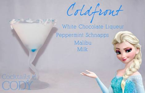 How did I miss this one!? This looks like a 1:1:3 with white chocolate liqueur, peppermint schnapps, and the mixer as milk, then with a splash of the malibu to accent the coconut on the rim!