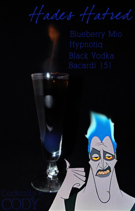 This one looks deadly and fun. Bottom is Hypnotiq and Mio, then the middle is Black Vodka with some Sprite, and then some 151 on top to light on fire!
