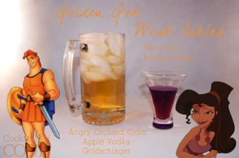 Seems like Golden God is just Angry Orchard with a shot of Apple Vodka and Goldschlager, which sounds delicious. Weak Ankles for Meg sounds great, but Mio is definitely a concentrated formula, so I'm assuming you drip it until the color looks right?