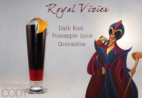 I love this one! The orange peel is suppose to be the cobra head! He likes Myers Rum for the dark rum and I'm assuming the grenadine might have to be mixed with some Sprite for the layering effect? Dark rum and pineapple juice seem to be a 1:2.