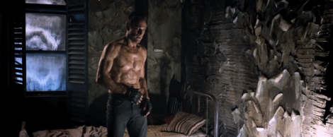 Adam, Frankenstein's monster, played by a ridiculously ripped and tastefully? scarred up Aaron Eckhart...seriously monster? I don't think so...GQ model? Yeah.