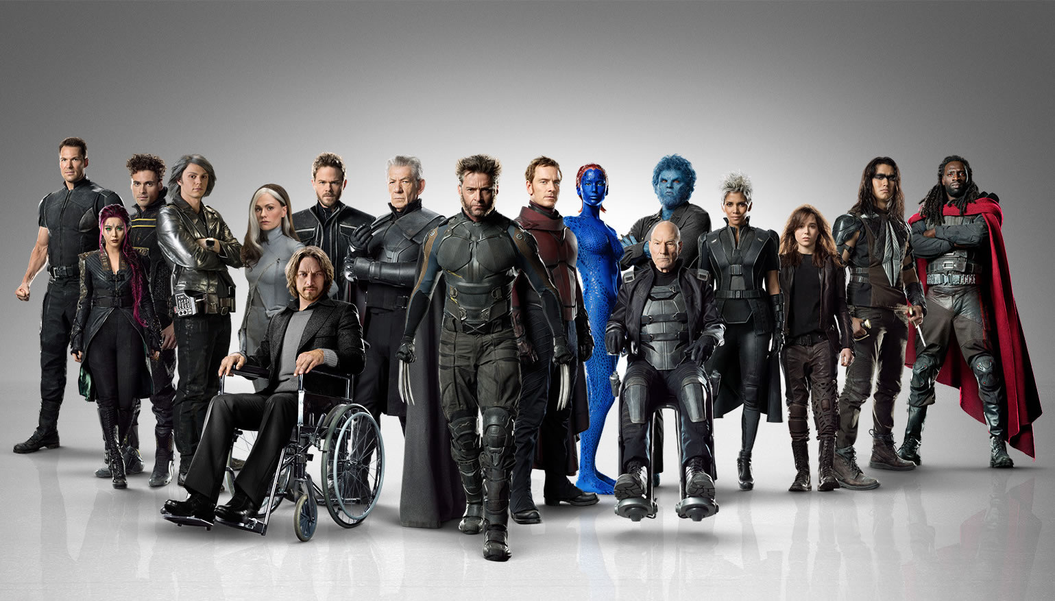 Look at these gorgeous people. Look at them. It's like a rainbow of mutants with Wolverine at the center.