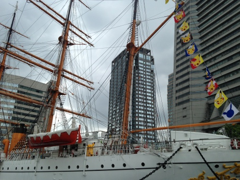 The Nippon Maru was decked out for the occasion. Look closely--who's that on deck?