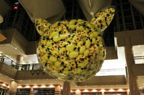 The centerpiece of the Landmark Tower lobby: A giant Pikachu balloon filled with smaller Pikachu balloons.