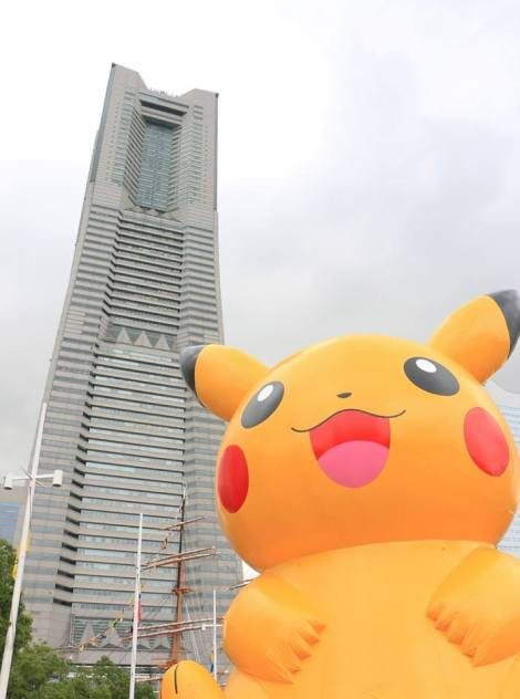 Pikachu and Yokohama's famous Landmark Tower. Credit: Jaime Hirakawa