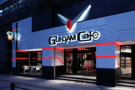 The futuristic Gundam Café in the heart of Akihabara.