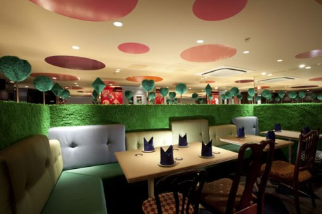 Guests are transported into a world of fantasy at the Alice Fantasy Restaurant.
